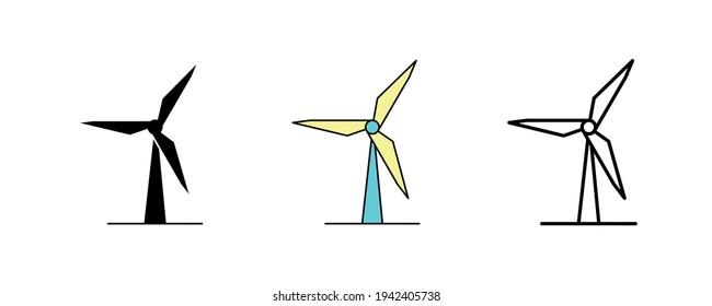 Wind turbine design. Wind turbine icon set in silhouette, colorful and linear. Wind turbine vector illustration isolated on a clean background for your web mobile application logo design. calligraphy.
