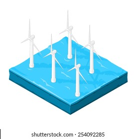 Wind Turbine farm in the ocean for the creation of electricity. Wind farm Turbines in the ocean for farming wind.