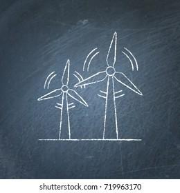 Wind turbine icon chalkboard sketch. Rotating windmill symbol chalk drawing on blackboard. Alternative renewable energy source.