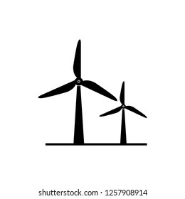 Wind turbine icon. Flat design style. Windmill silhouette. Vector illustration.