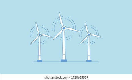 Wind turbine icon. Flat design style. Windmill silhouette. Simple icon. Modern flat icon in stylish colors. Web site page and mobile app design element.