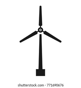 Wind turbine icon, windmill silhouette, black isolated on white background, vector illustration.