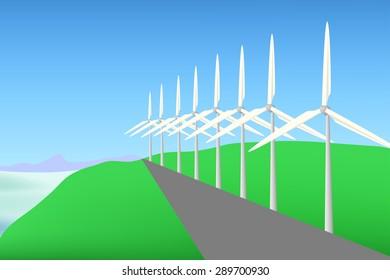 Wind turbine landscape vector