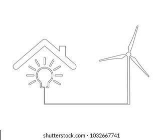 wind turbine lightbulb outline icon