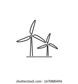 Wind turbine line icon. Flat design style. Windmill silhouette. Vector illustration