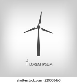 Wind turbine as logo with copyspace in grey colors
