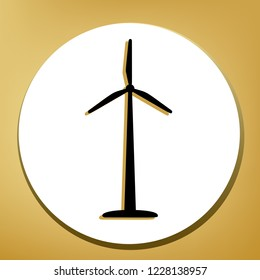 Wind turbine logo or sign. Vector. Black icon with light brown shadow in white circle with shaped ring at golden background.