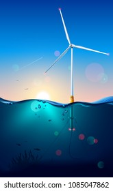 Wind turbine on offshore. Wind generator construction. Subsea or underwater view. Windmill connection power cable on seabed. Power generator technology. Seascape. Sun's rays shine through the water.