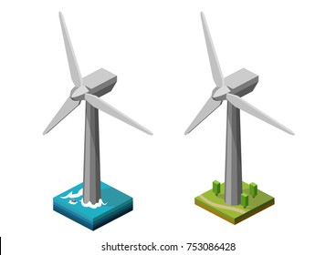 Wind turbine onshore and offshore vector isometric illustration