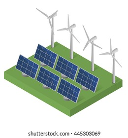 Wind turbine power. Isometric. Blue Solar panels.  Modern alternative energy. Vector illustration.