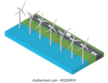 Wind turbine power on water. Isometric clean energy concept. Wind power.  Vector illustration.