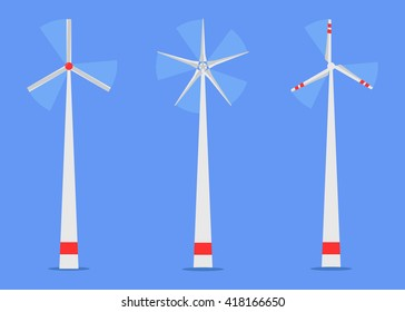 Wind turbine set vector, Windmill Vector, Windmill Icon set