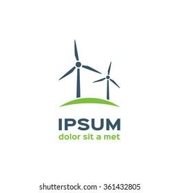 Wind turbine silhouette, logotype
