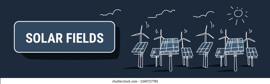 wind turbine solar energy panel fields renewable station alternative electricity source concept photovoltaic district sketch dark background horizontal banner