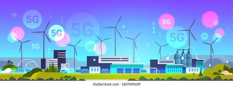 wind turbine solar panel alternative energy source 5G online wireless system connection industrial plant power station clean nature ecology environment concept horizontal vector illustration