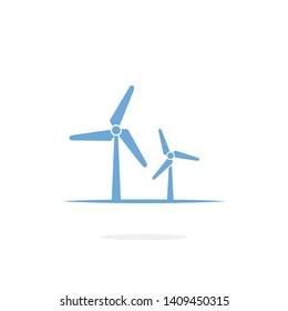 Wind turbine vector icon on white background
