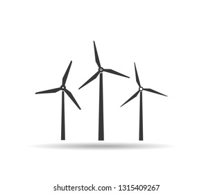 Wind turbine vector icon.Wind power icon on the white background . Windmill silhouette.Flat design style