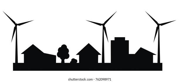 wind turbines in the city, black silhouette,vector icon