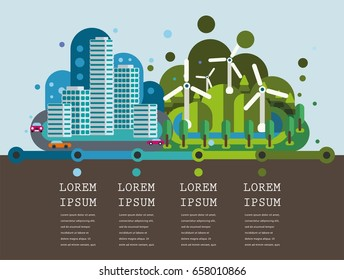 Wind turbines and city. Green energy industrial concept. Infographic timeline in flat style. Renewable energy sources.