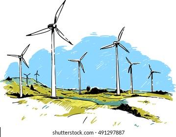 Wind turbines. Color sketch illustration