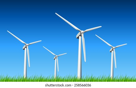 Wind turbines, grass and blue sky, vector background.