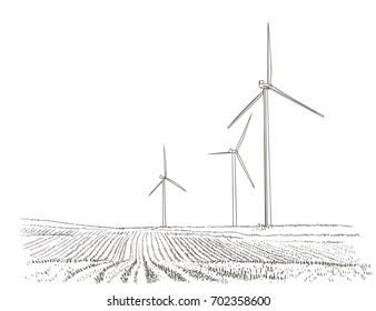 Wind turbines landscape. Vector.