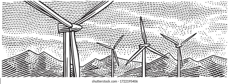 Wind turbines landscape view engraving style illustration. Isolated, vector.