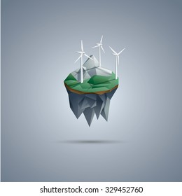Wind turbines on low poly floating island. Renewable energy environment symbol in modern polygonal design. Eps10 vector illustration.