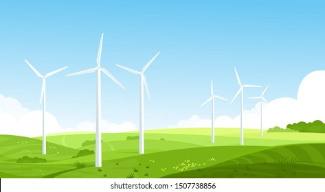 Wind turbines on meadow flat vector illustration. Wind energy converter. Renewable resource. Energy industry and power sector. Summer landscape, rural scenery, countryside nature in morning pure