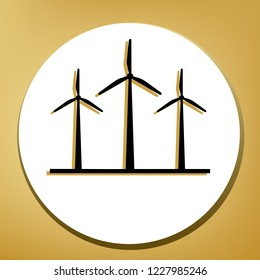 Wind turbines sign. Vector. Black icon with light brown shadow in white circle with shaped ring at golden background.