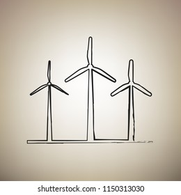 Wind turbines sign. Vector. Brush drawed black icon at light brown background.