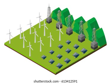 Wind turbines and solar cells in the field illustration