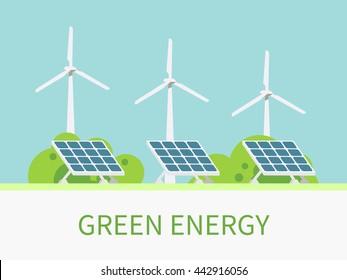 Wind turbines and solar panels. Alternative power resources. Vector flat design illustration