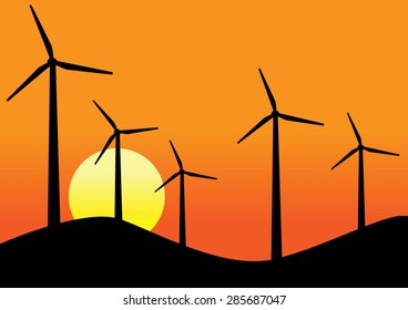 Wind turbines, sunset background, vector design