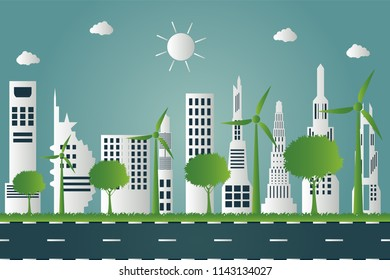Wind turbines with trees and sun Clean energy with eco-friendly concept ideas on city background.vector illustration