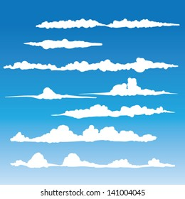 Windblown clouds vector - Collection of stylized cloud silhouettes, great for clipart or icon creation
