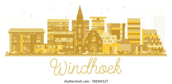 Windhoek Namibia City skyline golden silhouette. Vector illustration. Simple flat concept for tourism presentation, banner, placard or web site. Windhoek Cityscape with landmarks.