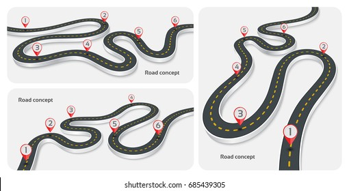 Winding 3d road infographic concepts on a white background. Timeline template set. Vector illustration