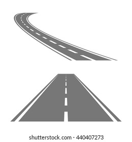 Winding curved road or highway with markings. Direction road, curve road, highway road, road transportation illustration.