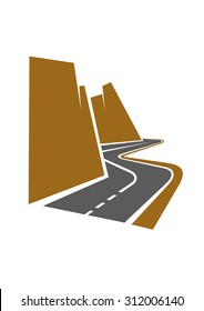 Winding mountain road or highway with center line following the curve of the cliffs as it disappears into the distance