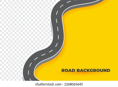Winding Road Background.Curved road way template.