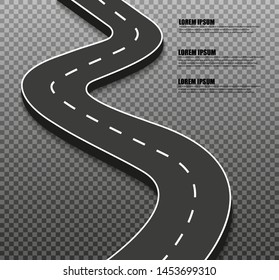 Winding road and infographic template