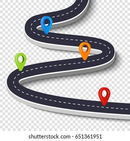 Winding road isolated on a white background. Road way location infographic template with pin pointer. Vector image