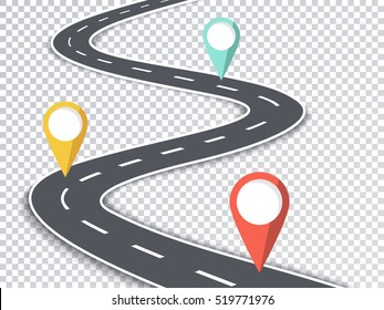 Winding Road Isolated Transparent Special Effect. Road Way Location Infographic Template with Pin Pointers. Vector EPS 10