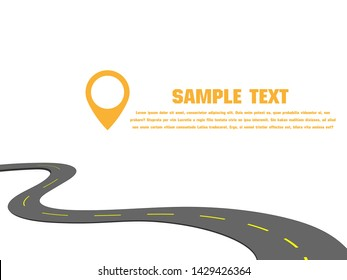 Winding Road on a White Isolated Background. Road way location info graphic template with pin pointer. Vector EPS 10