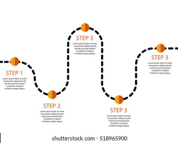 Winding road with pin-pointer. Infographic template of steps. Vector EPS 10