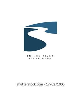 winding road river creek logo design vector illustration