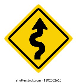 winding road sign isolate on white background, traffic icon vector illustration
