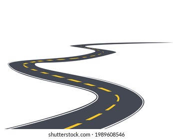 winding road. road template. Highway or roadway. Vector illustration