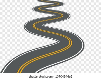 Winding road vector highway path long street asphalt isolated perspective road way journey illustration.